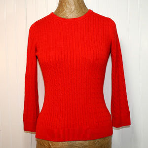 THE LIMITED Red Cable Knit Crewneck Sweater